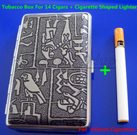 Cheap Free Shipping 5PCS Egyptian Pattern Stainless Steel Cigarette Case Silver Grey Hold For 14pcs 100mm Cigarettes And Lighter