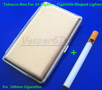 Cheap Free Shipping New Pocket Cigarette Tobacco Box Case Holder 100mm 14pcs Gold And Lighter