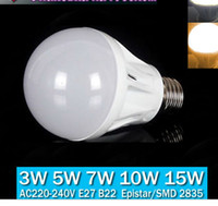 Wholesale NEW High Power Super Bright E27 Light Bulb SMD W W W W W LED Bulb Lamp LED Spotlight E27 AC220 VCool Warm White