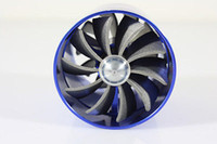 Wholesale 1pc Universial Blue Dual Fan Turbonator For Supercharger Turbo Cold Air Intake Hose F1 Z Fuel Gas Saver With Propellers