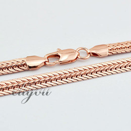 New Fashion Jewelry 6mm Mens Womens Flat Snake Chain 18K Rose Gold Filled Necklace Gold Jewellery Free Shipping C07 RN