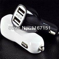 Car Chargers Universal other Lowest Price black and white Double USB Port Car Charger For All cell Phone Universal Car Adapter Free shipping