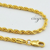 Chains 18k gold chain necklace - New Fashion Jewelry mm Mens Womens K Yellow Gold Filled Necklace Rope Twisted Chain Gold Jewellery DJN86