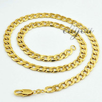 Wholesale New Fashion Jewelry Mens Womens mm K Yellow Gold Filled Necklace Curb Cuban Link Chain Gold Jewellery DJN101