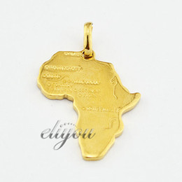 Wholesale New Fashion Jewelry Mens Womens K Yellow Gold Filled Africa Map Shape Pendant Necklace Optional Chain DJP50