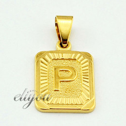 "New Fashion Jewelry Mens Womens Square Pendant w ""P"" Letter 18K Yellow Gold Filled Pendant Necklace Free Shipping DJP36"