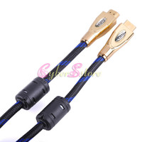 Wholesale 1 M Metal Head D Ready High Speed v1 Gold HDMI Cable HD FOR TV LCD HDTV DVD PS3 PC Tablet