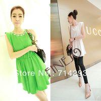 Shorts Women Capris Korean Fashion Sweet Candy Color Sleeveless Beaded Jumper Dress drop shipping 14406
