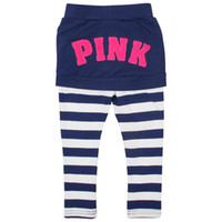 Leggings & Tights Girl Spring / Autumn girls leggings zebra print navy white striped pants toddler clothing strass pantskirt baby patterned tights
