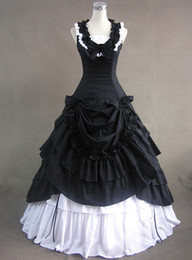 Tailored Black And White Medieval Renaissance Gothic Victorian Ball Gown Dress,Halloween Vampire Costumes,Civil War Ball Gown