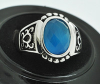 Band Rings Celtic Men's Engraving Mop Black Ink Baby Blue Man Made Stone Jewellery Customized Ring