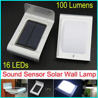 Wholesale Solar Powered LED Outdoor Lighting Lamp Outdoor LED Solar Wall Light Sound Sensor Energy saving Garden Light Path Light Bulb DHL Shipping