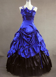 Elegant and Graceful Blue Sleeveless Gothic Vitorian dress,Victorian Dress Costume