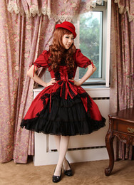 2016 Best Selling Free Shipping Elegant and Stylish Short-Sleeved Red Gothic Lolita Dresses