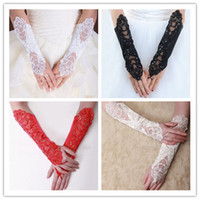Wholesale Ready To Ship In Stock Bridal Gloves quot White Red Ivory Black Fingerless Long Pearl Lace Satin Embroidery Wedding Gloves