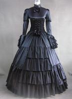 achat en gros de vêtements noirs gothiques-Robe manches longues en gros noir gothique Corset Style victorien, gothique Cosplay Costume Vêtements Pour Femmes Can Be Costum-Made