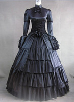 Wholesale Long Sleeves Black Gothic Victorian Style Gown Dress Victorian Gothic Clothing