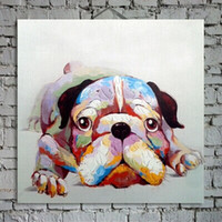 One Panel baby oil wall paintings - Lovely Dog Decorated Canvas Oil Painting Animal Wall Art Paints Handpainted for Home Decoration in Living Room or Baby Room