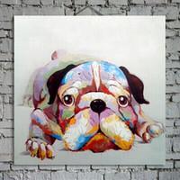 Симпатичная собака Украшенная Холст Картина маслом животных Wall Art Краски расписанную для украшения дома в гостиной или детской комнаты
