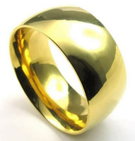 Wholesale Whitney_houston Jewelry Mens Stainless Steel Ring mm Comfort Fit Band Gold US size to Drop
