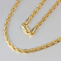 Wholesale Top quality K gold plated twisted rope chain necklace inches Fashion Men s Jewelry