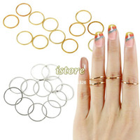 Stainless Steel Fashion Rings 12PCS Set Rings Urban Gold stack Plain Cute Above Knuckle Ring Band Midi Ring Round Brief Stylish Gold And Silver 18521