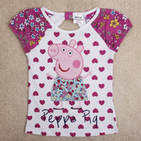 Wholesale 2014 Summer Kids clothes nova cartoon peppa pig tshirt designer heart shaped print short sleeve girls tops