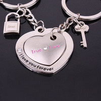 Wholesale 1 Pair Silver Love Heart Shape Couple Key Ring Key Chain Keyfob Lover Gift