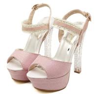 Women Chunky Heel PU 2014 adorable crystal heel pink silver wedding shoes platform peep toe high heels sandals prom gown dress shose summer size 34