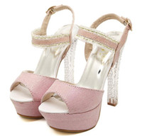 Women Chunky Heel PU chic adorable crystal heel pink silver wedding shoes platform peep toe high heels sandals prom gown dress shose summer size 34