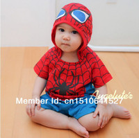TuTu Summer A-Line Cool baby spider man rompers baby boy girl summer one-piece rompers cute children's clothing short sleeve hooded