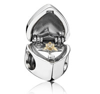 Silver Hearts, Love Silver PANDORA STYLE CHARMS SILVER AND 14CT GOLD HEART BOX WITH RING CHARM