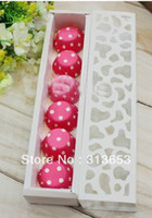 Wholesale White luxury hollow macarons container chocolate box candy packaging with free inner paper cupcake