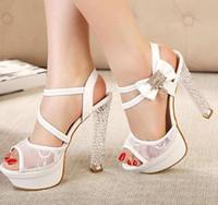 Wholesale 2014 Dreamy lace dres shoes rhinestone bow platform crystal heels sexy black white wedding bride dress shoes size