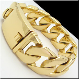 """Gold Silver pick Colour Huge Heavy 174g Cuban Curb Chain Stainless Steel Bracelet 8.5"""" 26mm Best Quality"""
