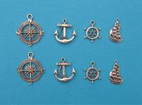 Traditional Charm handmade craft - 200Pcs Mixed Tibetan Silver Tone Compass Ship Rudder Anchor Charm Pendant Jewelry Craft DIY Handmade Floating Charm