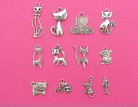 Charms cat charms - 120pcs Mixed Tibetan Silver Cat Charms Pendants For Jewelry Making Craft DIY Floating Charms