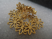 Wholesale 20pcs Gold Plated Cute flowers charms stainless steel Jewelry Finding In bulk