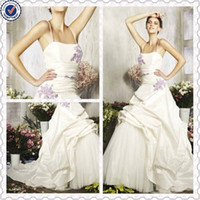 Wholesale New Arrival A line Halter Appliqued Ruched Taffeta Purple And White Wedding Dresses