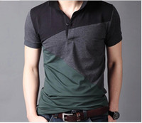 Wholesale Plus size Korean cultivate one s morality shirt collar short sleeve T shirt Lapels men s clothing color matching