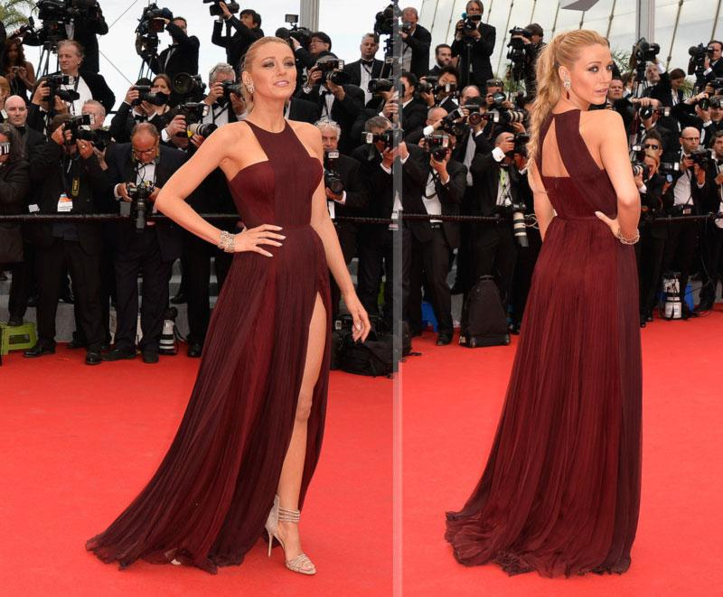 Buy Blake Lively Halter dress 2014 Cannes Red Carpet pleat bodice zipper back side slits burgundy line summer chiffon prom