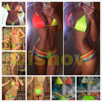 bass drum sizes - Hot Neon Pink Cut Out Bandage Swimsuit Swimwear with Padded Drum and Bass Rainbow Rope Bikini For Women Size SML