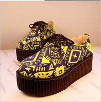 Half Boots PU Spot Most unusual family name European and American fashion illustrator Floral soled shoes laced muffin authentic Korean version of casual shoes,