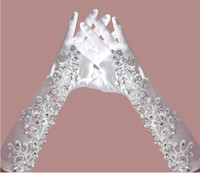 Wholesale Bridal Gloves Satin Lace Long Section Of Luxury Lace Wedding Dress Accessories Rhinestone Beaded Wedding Gloves