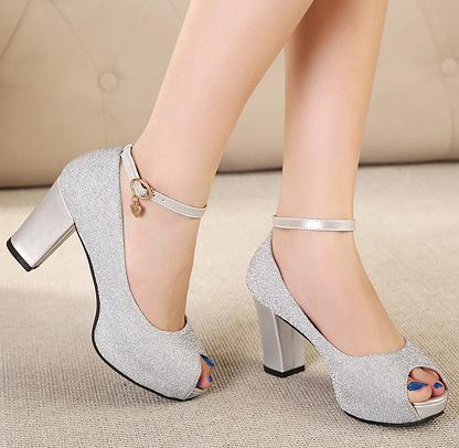 Glitter Silver Wedding Shoes Peep Toe Ankle Strappy Fashion Ladies