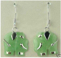 Stud Stud Earrings Earrings 3 PC Fancy Jewelry 925 Silver Natural jade elephant earrings free shipping