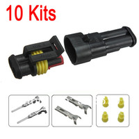 Cheap New Car Part 10 kit 2 Pin Way Sealed Waterproof Electrical Wire Auto Connector Plug Set