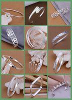 Wholesale Fashion Kinds Women s Silver Bangle Bracelets Jewelry Mix Style Silver Shining Women s Bangle Bracelets
