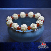 Wholesale free shinppingMs White Lotus hand carved bone bracelet natural red agate beads bracelets national wind evil