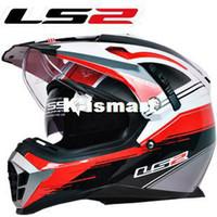 ABS off road dirt bike - New LS2 motorcycle helmet MX455 dual lens professional off road dirt bike helmet full face helmet safety adjustable airbags